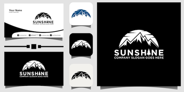 Vector de diseño de logotipo de montaña con fondo de plantilla de tarjeta de visita