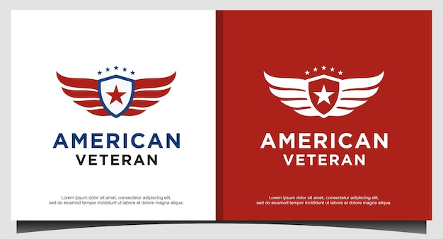 Vector de diseño de logotipo nacional patriótico escudo veterano americano