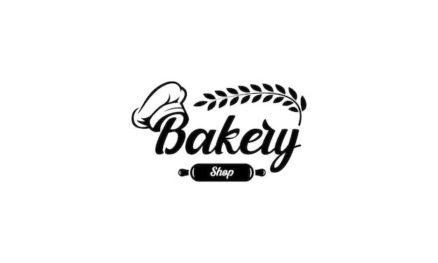 Vector de diseño de logotipo de panadería con gorro de cocinero, rodillo y trigo