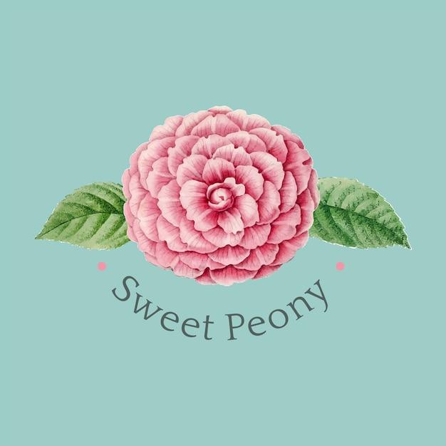 Vector de diseño de logotipo de peonía dulce