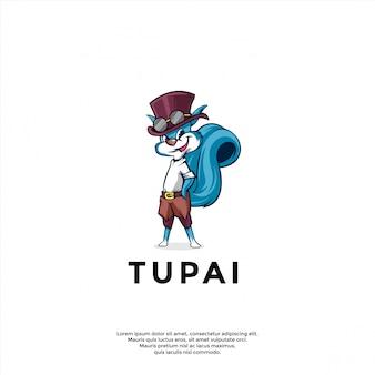 Vector de diseño de logotipo de personaje de ardilla