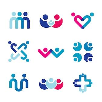 Vector de diseño de logotipo de personas