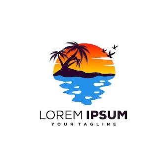 Vector de diseño de logotipo puesta del sol