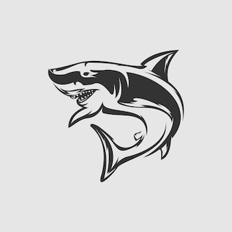 Vector de diseño de logotipo de tiburón