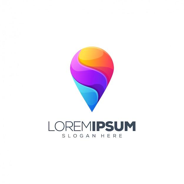 Vector de diseño de logotipo de ubicación colorida
