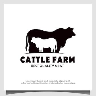 Vector de diseño de logotipo de vaca de ganado