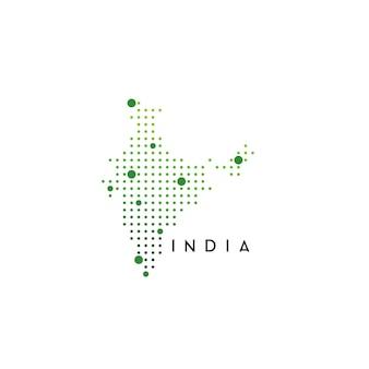 Vector de diseño de mapa de india punteado