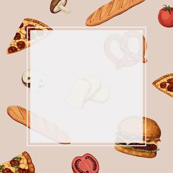 Vector de diseño de marco de comida chatarra en blanco