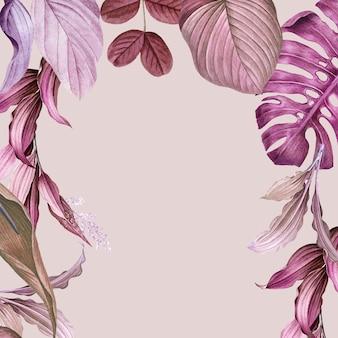 Vector de diseño de marco frondoso púrpura