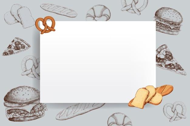 Vector de diseño de marco de pan en blanco