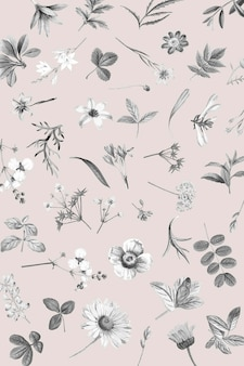 Vector de diseño de papel tapiz floral rosa