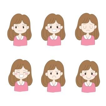 Vector de diseño de personajes conjunto de mujer, niña.