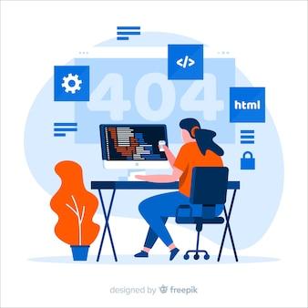 Vector de diseño plano con programador trabajando