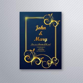 Vector de diseño de plantilla de flyer de tarjeta de boda de lujo
