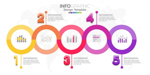 Vector de diseño de plantilla de infografía cinco pasos timeline
