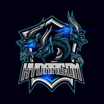 Vector de diseño de plantilla de logotipo de hydra dragon esport