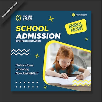 Vector de diseño de publicación de redes sociales del programa de admisión escolar