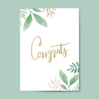 Vector de diseño de tarjeta acuarela felicitaciones