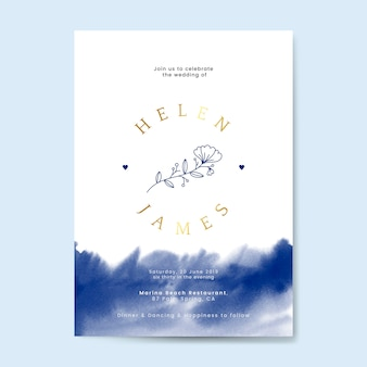 Vector de diseño de tarjeta de invitación de boda floral