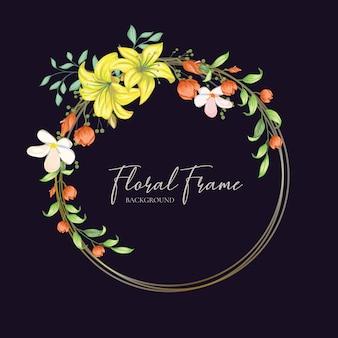 Vector de diseño de tarjeta de invitación de boda marco floral