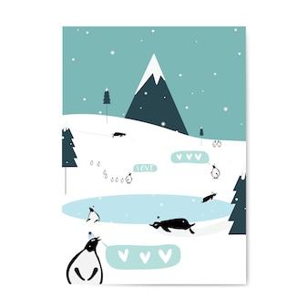 Vector de diseño de tarjeta postal temática de invierno