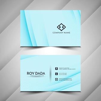 Vector de diseño de tarjeta de visita azul de líneas onduladas abstractas