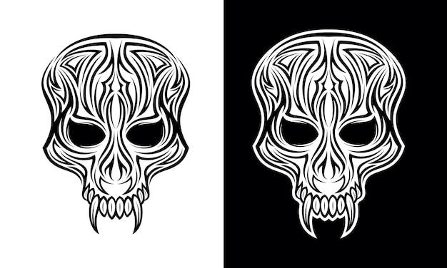 Vector de diseño de tatuaje tribal de cara de demonio