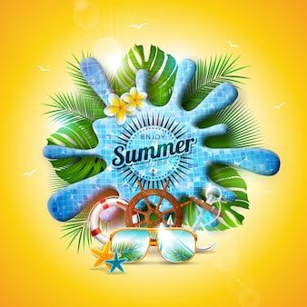 Vector diseño de verano con salpicaduras de agua de la piscina y hojas tropicales