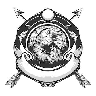 Vector de diseño vintage de logo de cuervo