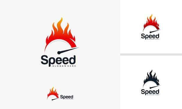 Vector de diseños de logotipos de velocidad y rapidez con símbolo de fuego, plantilla de diseños de logotipos de velocímetro