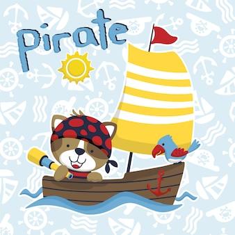 Vector divertido de la historieta del pirata en el velero