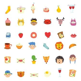 Vector doodle animal lindo, caras de personas, comida sabrosa en un diseño simple para el diseño de tarjetas de felicitación para niños, estampado de camisetas, póster de inspiración.