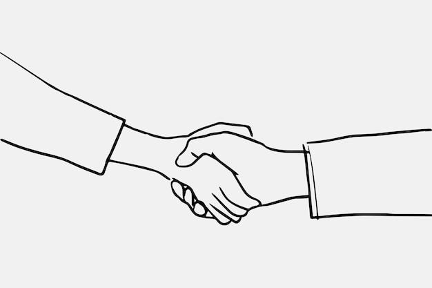 Vector de doodle de apretón de manos de gente de negocios