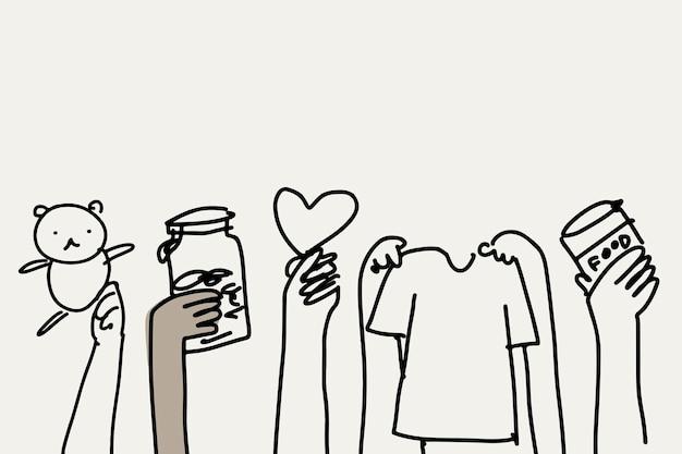 Vector de doodle de caridad, personas donando cosas