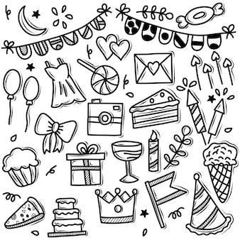 Vector doodle conjunto de iconos de fiesta