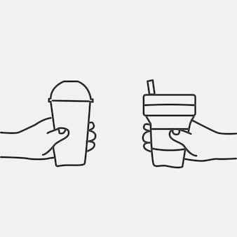 Vector de doodle de desperdicio cero, concepto ecológico