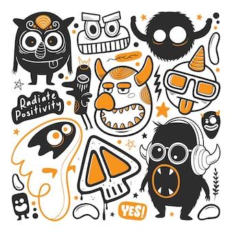 Vector de doodle dibujado a mano divertido monstruo
