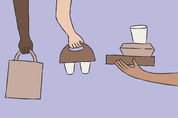 Vector de doodle de entrega de alimentos con embalajes ecológicos
