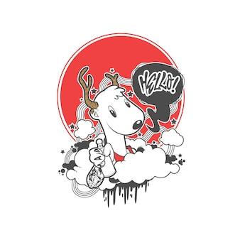 Vector de doodle de ilustración de ciervos