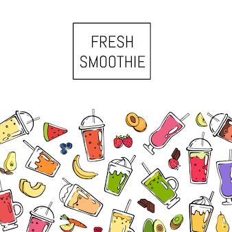 Vector doodle ilustración de fondo de bebida batido fresco