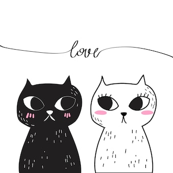 Vector de doodle love cat.