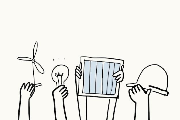Vector de doodle de medio ambiente, concepto de energía renovable