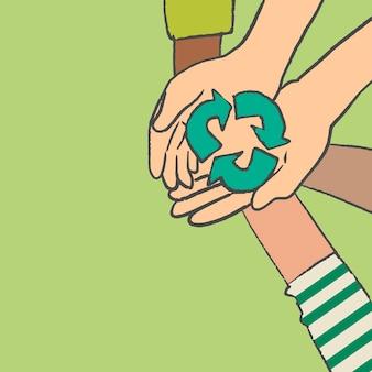 Vector de doodle de medio ambiente, concepto de reciclaje