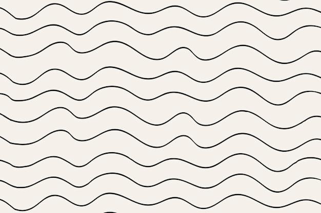 Vector de doodle negro de fondo de patrón ondulado, diseño simple