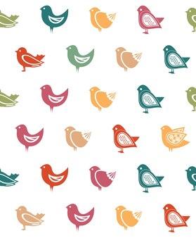 Vector doodle pájaro de patrones sin fisuras