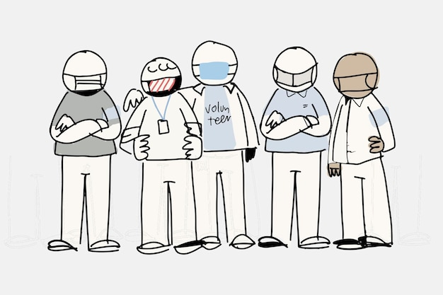 Vector de doodle de voluntariado, concepto de apoyo