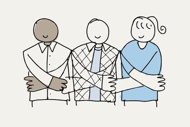 Vector de doodle de voluntariado, personas cogidas de la mano apoyan el concepto