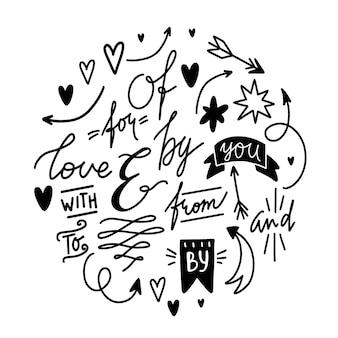 Vector doodles conjunto de palabras y elementos decorativos