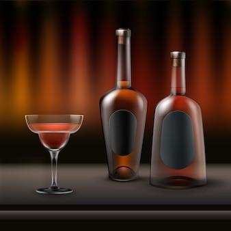 Vector dos botellas de alcohol llenas y copa de cóctel en barra de bar con fondo rojo, marrón oscuro