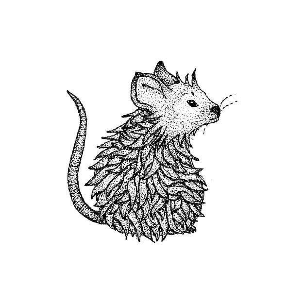 Vector de dotwork de rata. ilustración de boceto dibujado a mano del tatuaje.